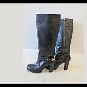 Juicy black leather high boots US 7.5